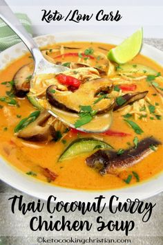 Thai Coconut Curry Chicken Soup – Keto and Low Carb Classic Thai chicken soup flavored coconut, shiitake mushrooms and a spicy kick from red curry! Keto Foods, Ketogenic Recipes, Diet Recipes, Cooking Recipes, Healthy Recipes, Dessert Recipes, Ketogenic Diet, Breakfast Recipes, Banting Recipes