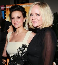 """Carla Gugino (L) and Marley Shelton attend a screening of Samuel Goldwyn Films' """"Elektra Luxx"""" at the Charles Aidikoff Screening Room on March 4, 2011 in Beverly Hills, California."""