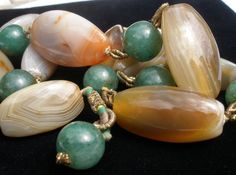 """Genuine Green Jade Polished Stone Agate Bead Hand Crafted 22"""" Vintage Necklace   eBay"""
