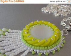 Check out Summer sale 15% FREE SHIPPING, Bead embroidery, Pendant, Seed bead necklace, Trending style, Lunasoft, Mojito, Lime, green, on vicus