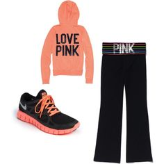 Victoria secret pink & nike look. Pink Nike Shoes, Nike Shoes Outfits, Nike Shoes Cheap, Pink Nikes, Sport Outfits, Cheap Nike, Discount Running Shoes, Nike Crossfit, Cute Workout Outfits