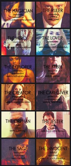 Doctor Who characters as associated with the twelve common character archetypes, discovered via http://amandaonwriting.tumblr.com/post/30236595611