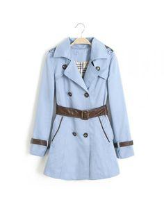 Blue double-breasted double pocket casual windbreaker