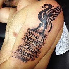 Liverbird Tattoo, Book Tattoo, Liverpool Football Club, Liverpool Fc, Tribal Tattoos, Tatoos, Liverpool Tattoo, Alone Tattoo, You'll Never Walk Alone