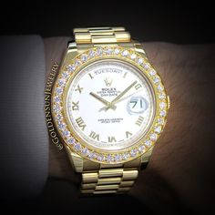 GOLDEN SUN JEWELRY: Just classy. Rolex Day Date II President with our pave set Russian cut diamond bezel. Summer is coming up; what are you rocking on your wrist? @goldensunjewelry #goldensunjewelry #rolex #president #prezzy #watch #watches #wshh #timepiece #detroit #designer #diamonds #diamondwatch #fashion #flawless #fashionista #gold #haute #horology #jeweler #jewelry #luxury #bling #bespoke #niketalk #wristcandy