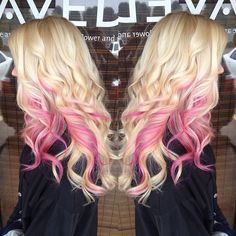 Long Blonde with Pink Hair Blonde To Pink Ombre, Blonde With Pink, Blonde Hair With Pink Highlights, Hair Dye Colors, Ombre Hair Color, Pretty Hairstyles, Wig Hairstyles, Easy Hairstyle, Bridal Hairstyle