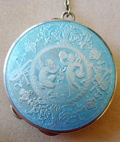 Antique Vintage Enamel & Sterling Silver Compact Early 1900s