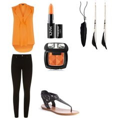 Orange outfit by redrosebloom on Polyvore featuring polyvore, fashion, style, River Island, Paige Denim, belle by Sigerson Morrison, Ann Demeulemeester and NYX