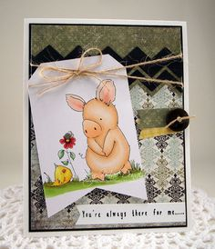"I Wanna Build a Memory: Hopping with Cardmaker Magazine. Supplies: Paper--We R Memory Keepers ""Antique Chic"", Bazzill, Recollections, Copic XPress-it Blending card Stamps--Stamping Bella ""Especially for you, Petunia"" Ink--Memento Tuxedo Black, Versafine Black Onyx Tools--MFT Die-namics Chevrons and Sentiment Strips dies, Crop-a-dile Big Bite Miscellaneous--jute string and button from my stash, Glossy Accents, Wink of Stella Clear Glitter pen.  Copics Used: Petunia E000, E00, E01, E02, E21…"