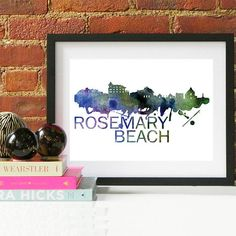 Your place to buy and sell all things handmade Cityscape Art, Skyline Art, Beach Watercolor, Watercolor Print, Couple Gifts For Her, Beach Posters, Beach Gifts, Rosemary Beach, Beach Wall Art