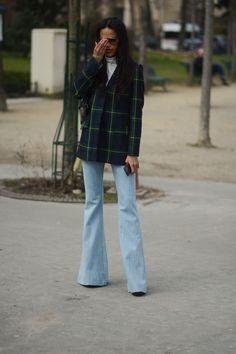 Suzanna Gembege wearing Samuji Namiko Trousers at Paris Fashion Week Picture by: Marc-Henri Ngandu