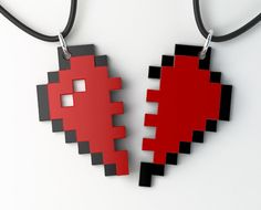 Pixel Heart Friendship Pendant or Key Chain on Etsy, $17.48 AUD
