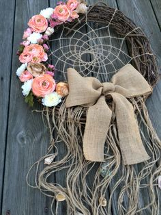 18 Dream Catcher Wreath Coral Wreath Dream by ZenLunaticNYC