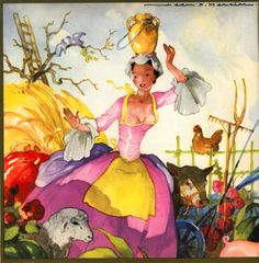 1957 French Ship Ile de France Menu Art By Jean Mercier Children's Book Illustration, Illustrations, Fables D'esope, Vintage Prints, Vintage Posters, Fairytale Art, Conte, Girls Be Like, Vintage Images