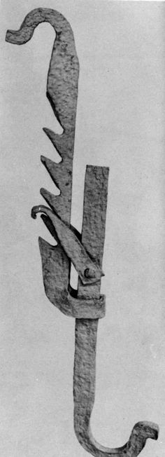 Early wrought iron trammel hook, found during excavations at the colonial settlement at Jamestown, Virginia, US;[xix] and in use within a reconstructed ...