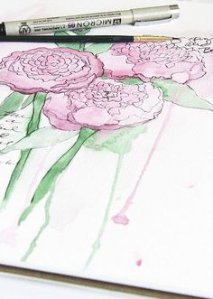 peonies by Alisa Burke #art #inking #watercolor