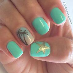 nice Summer palm tree star ombré nail art design...