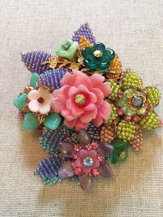Stanley Hagler NYC Ian St Gielar Brooch Pin MultiColor Flowers NEW Signed OOAK    eBay