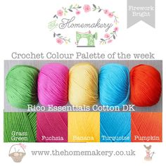 Firework Bright - RICO Essentials Cotton DK �12.5 http://www.thehomemakery.co.uk/wool-yarn/yarn-packs/firework-bright-rico-essentials-cotton-dk