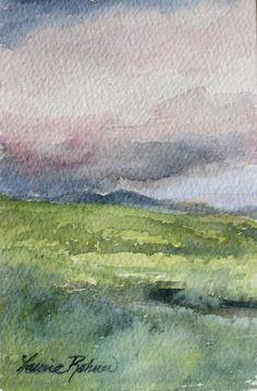 Vermont Storm Watercolor Landscape Nature Art Original Painting Laurie Rohner via Etsy