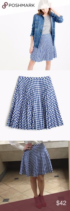 J. Crew Gingham Pleated Mini Skirt EUC This skirt is adorable! I wore it once as a Halloween costume, Dorothy from Wizard of Oz. Perfect condition; no stains, tears, or other flaws. J. Crew Skirts A-Line or Full