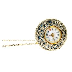 Platinum, Diamond and Blue Enamel Ball Watch | From a unique collection of vintage pocket watches at http://www.1stdibs.com/jewelry/watches/pocket-watches/