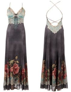 Michal Negrin Creation Full-Length Evening Dress with Victorian Roses Pattern on the Hemline and Lace Like Pattern on the Bodice, Enhanced with Lace Trim Edge and Swarovski Crystals - Special Ordered and Shipped by Genuvo within 2 to 3 Weeks