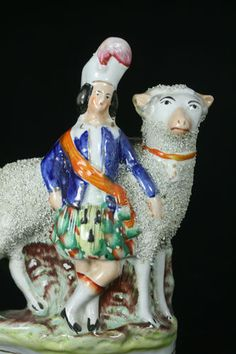 Superb 19th C Staffordshire of An Applied Chipped Decor Sheep with The Figurine   eBay