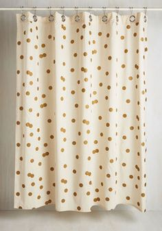 Pizzazz Good as Gold Shower Curtain. Make a stellar statement in your day-to-day routine with this cotton shower curtain! #gold #modcloth