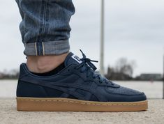 Asics Onitsuka Tiger GSM dark blue on foot 1 Sneakers Mode, Blue Sneakers, Casual Sneakers, Sneakers Fashion, Casual Shoes, Fashion Shoes, Men Sneakers, Asics Onitsuka Tiger, Onitsuka Tiger Mens