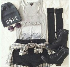 Gray Los Angeles Tank and Black Shorts with Flannel and Black Combat Boots