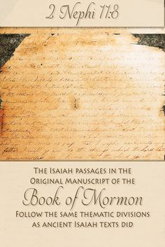 """Did you know that """"the original Book of Mormon chapter divisions ignore the chapter system found in the King James Bible""""? Instead, as other scholars have noted, the Book of Mormon's division of Isaiah follows an intricate and larger literary or thematic scheme. Find out more at http://www.knowhy.bookofmormoncentral.org/content/can-textual-studies-help-readers-understand-the-isaiah-chapters-in-2-nephi  #Isaiah #LDS #Mormon #BookofMormon #Translation"""