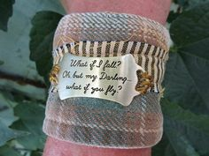 Inspirational Quote Plaid Flannel Cuff Bracelet// by emmevielle
