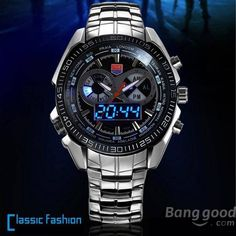 TVG 468 Men 3 Dial LED Display Analog-Digital Military Wrist Watch - US$23.00