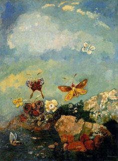 Odilon Redon (French, 1840-1916) -  Butterflies, c1910. Oil on canvas