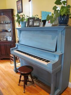 piano painted in milk paint - color french enamel by Miss Mustard Seed