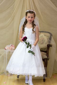e533f6c34be Lace Top First Communion Dress with Gold Metallic