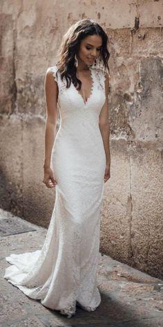 Louvienne Wedding Dresses Collection 2019 Wedding Dresses Guide is part of Wedding dress guide - Bridal Gowns Wedding Dress Chiffon, Rustic Wedding Dresses, Dream Wedding Dresses, Boho Wedding, Bridal Dresses, Wedding Gowns, Bridesmaid Dresses, Mermaid Wedding, Sheath Wedding Dresses