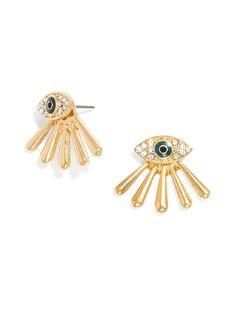 The evil eye takes on the fashion-forward ear jacket--a sprinkling of crystal transforms this whimsical motif into a glam touch.