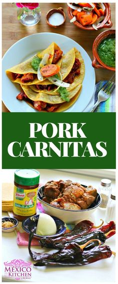 "How to make Pork Carnitas Recipe │There are some popular mouthwatering morning tacos in Mexico City that are stuffed with ""Chicharrón Prensado"", a filling made out of pressed pork pieces. Mexican Pork Recipes, Recipes Using Pork, Mexican Dishes, Pork Pieces Recipes, Easy Recipes, Keto Recipes, Pork Carnitas Recipe, Traditional Mexican Food, Mexican Street Food"