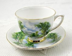Colclough Tea Cup and Saucer, Trees on the Banks of a River, Vintage Bone China