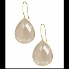Saachi Jewelry - 18 kt gold clad faceted Moonstone drop earrings