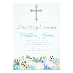 Elegant Floral First Holy Communion Invitation - boy gifts gift ideas diy unique