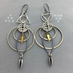 Geometric Crescent Moon Spike and Amulet Earrings