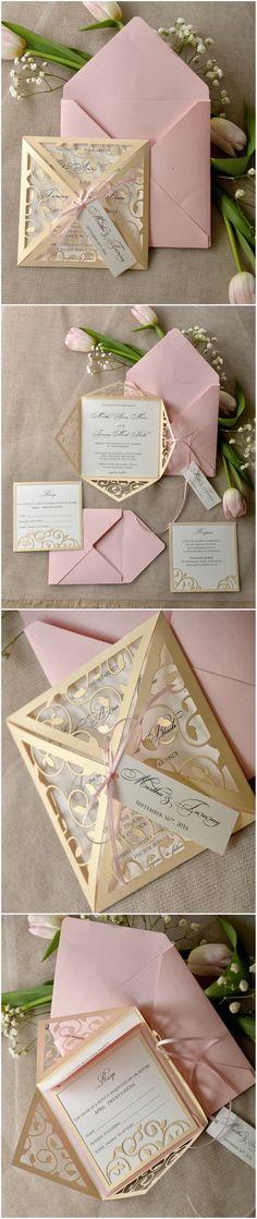 Laser cut blush pink romantic Wedding Invitations #blush #pink #pastel #romantic #weddinginvitations #lasercut #elegant