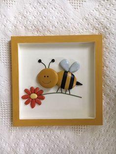 Bumble bee framed pebble art, bumble bee decor Bumble bee pebble art, bumble decor for nursery or ki Pebble Painting, Pebble Art, Stone Painting, Stone Crafts, Rock Crafts, Arts And Crafts, Rock Painting Patterns, Rock Painting Designs, Button Art