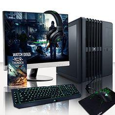 """Vibox Legend Pacchetto 24 - Estremo, Gamer, Desktop Gaming PC, Computer con WarThunder Gioco Bundle, 27"""" HDMI Monitor, Razer Black Widow Ultimate Gaming Tastiera, DeathAdder Mouse, Goliathus Tappetino, Razer Kraken Pro Cuffia, Windows 10 - Oltre a una garanzia a vita (Intel, i7 5960X @ 4.4GHz Otto-Core, Processore, H100i Acqua Raffreddamento, 2x 6 GB Nvidia Geforce GTX 980 Ti (SLI) Scheda Grafica, 500GB SSD Stato Solido, 3TB Hard-Disk, 32 GB Patriot Viper Xtreme 2800Mhz DDR4 RAM, RM750 ..."""