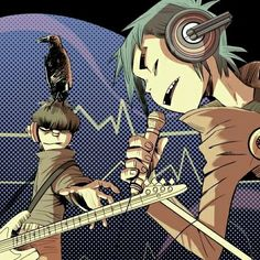 I think in Punk :vvvvvv: and I can't sleep -_- kill me pls Damon Albarn, Jamie Hewlett, Great Bands, Cool Bands, Gorillaz Band, Gorillaz Quotes, 2d And Murdoc, Sunshine In A Bag, Monkeys Band