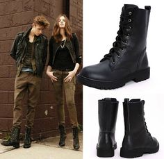 Discount Autumn Winter Black Genuine Leather Vintage British Style Military Army Lace Up Flat Fur Ankle Combat Boots For Women Black Army Boots, Ankle Combat Boots, Ugg Winter Boots, Office Fashion Women, British Style, Types Of Shoes, Fashion Boots, Shoe Boots, Lace Up
