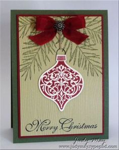 Stampin' Up! Christmas card ... country colors of deep red and green ...